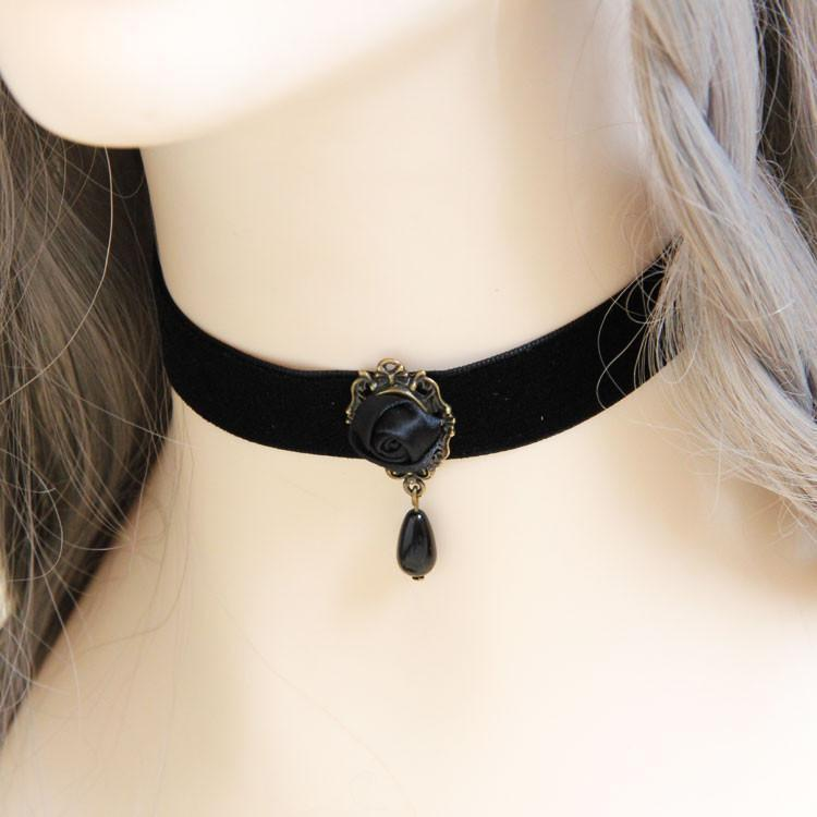 Women's Black Rose Collar Choker Pendants-