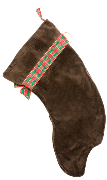 This Chocolate Lab shaped Christmas dog stocking is perfect for stuffing toys and treats into to spoil your fur baby for Christmas, or whatever holiday you celebrate!