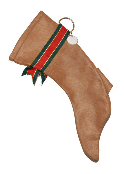This Tan Greyhound shaped dog holiday stocking is perfect for stuffing toys and treats into to spoil your fur baby for Christmas, or whatever holiday you celebrate!
