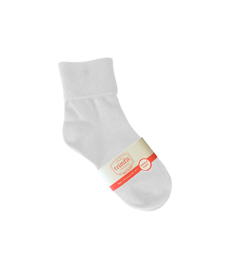 WHITE FOLD OVER ANKLE SOCKS, YOUTH