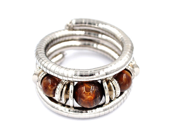 Wrap Silver and Tiger Eye Bracelet