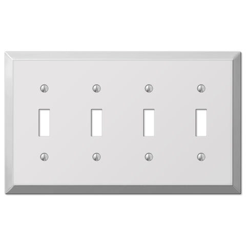 Century Polished Chrome Steel - 4 Toggle Wallplate - Wallplate Warehouse