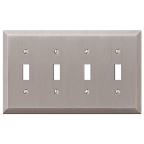 Century Brushed Nickel Steel - 4 Toggle Wallplate - Wallplate Warehouse