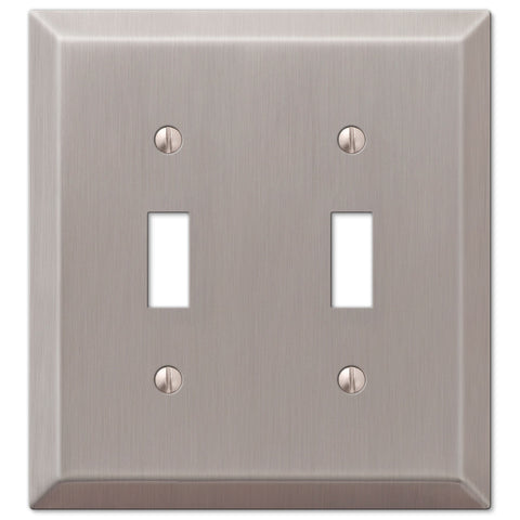 Century Brushed Nickel Steel - 2 Toggle Wallplate - Wallplate Warehouse