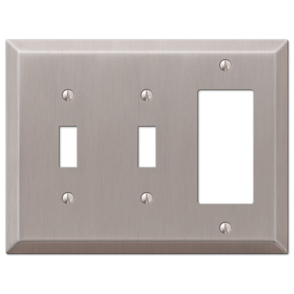 Century Brushed Nickel Steel - 2 Toggle / 1 Rocker Wallplate - Wallplate Warehouse