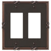 Ribbon & Reed Aged Bronze Cast - 2 Rocker Wallplate - Wallplate Warehouse