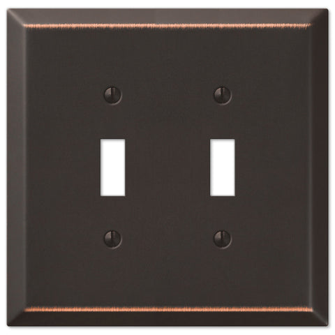 Oversized Aged Bronze Steel - 2 Toggle Wallplate - Wallplate Warehouse