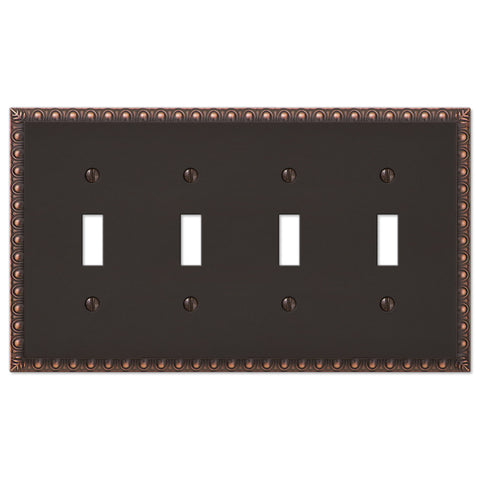Egg & Dart Aged Bronze Cast - 4 Toggle Wallplate - Wallplate Warehouse