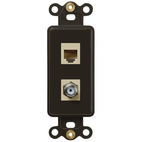 Rocker Insert Brown - 1 Cable Jack / 1 Phone Jack - Wallplate Warehouse