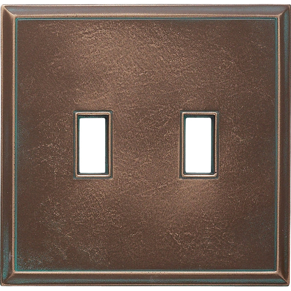 Antique Bronze Verdigris Cast Metal Magnetic - 2 Toggle Wallplate - Wallplate Warehouse