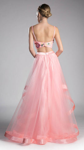 Embroidered Crop Top Two-Piece Long Prom Dress Peach