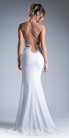 Illusion Off White Long Prom Dress with Cut Outs