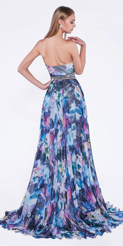 Print Strapless Prom Gown Embellished Waist