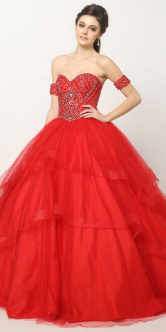 Beaded Embroidery Glitter Mesh Cinderella Ball Gown Red