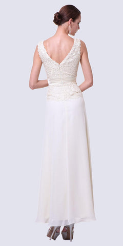 V-Neckline Long Cream Chiffon Lace Column Dress
