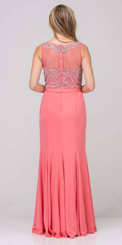 Champagne Mermaid Long Formal Dress Beaded Round Neckline