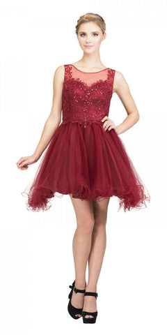 Starbox USA 17308 Burgundy Homecoming Short Dress Appliqued Bodice