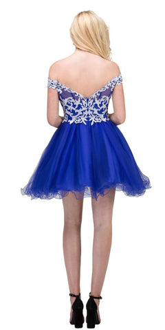 Starbox USA 17313 Royal Blue Off-Shoulder Homecoming Short Dress Back View