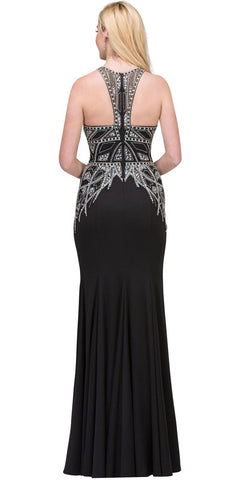 Black Beaded Long Prom Dress Racer Back with Slit