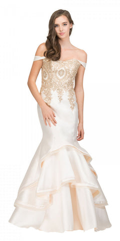 Starbox USA 17316 Champagne Off-Shoulder Tiered Mermaid Prom Gown with Appliques