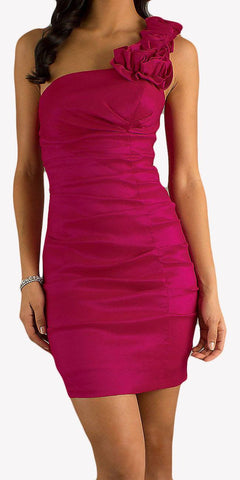 Rosette Studded Single Strapped Fuchsia Short Cocktail Dress