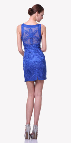 Cinderella Divine 1900 - Vintage Royal Blue Lace Dress Short Sleeveless Wide Straps Modest Back