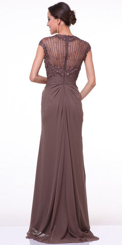 Cinderella Divine 1941 - Cap Sleeves Brown Back View Floor Length Evening Dress Sheer Back