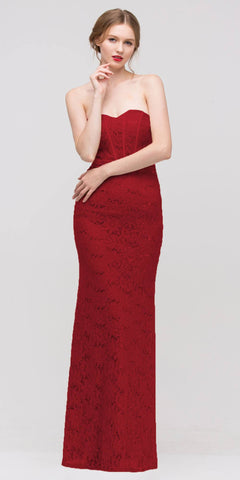 Charming Long Lace Gown Dark Red Sheath Mermaid Flare Strapless