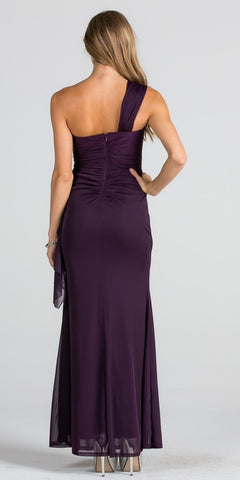 Embellished One Shoulder Long Formal Dress with Drape Eggplant