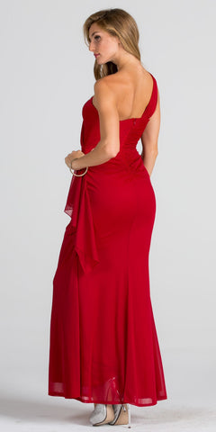 Embellished One Shoulder Long Formal Dress with Drape Red