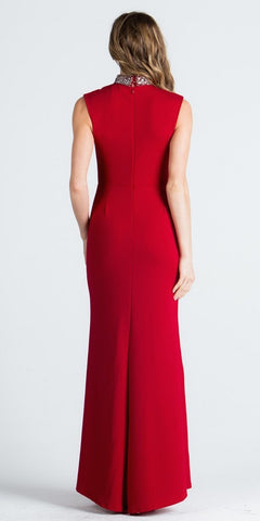 Red High Embellished High Neckline Fit and Flare Evening Gown