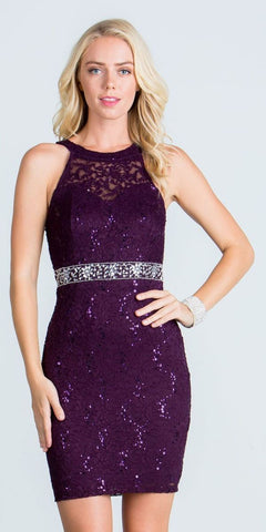 Keyhole Back Eggplant Lace Fitted Cocktail Dress Rhinestone Waist