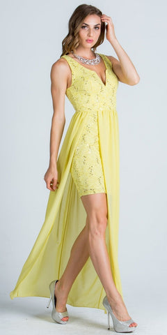 Yellow Plunging V-Neck High and Low Semi Formal Dress