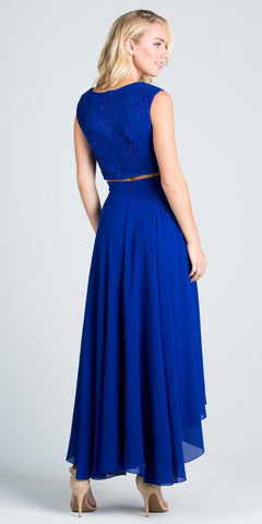 High Low Two Piece Homecoming Dress Sleeveless Lace Top Royal Blue