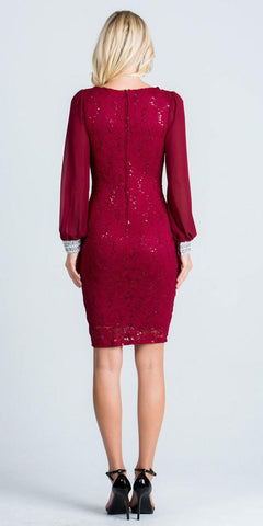 Long Sleeves Bodycon Short Cocktail Dress V-Neck Burgundy