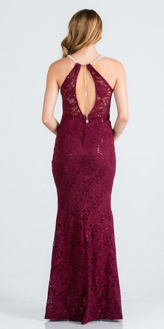 Burgundy Pearl Embellished Long Formal Dress with Keyhole