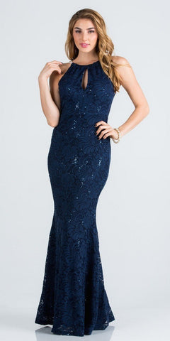 Navy Blue Pearl Embellished Long Formal Dress with Keyhole