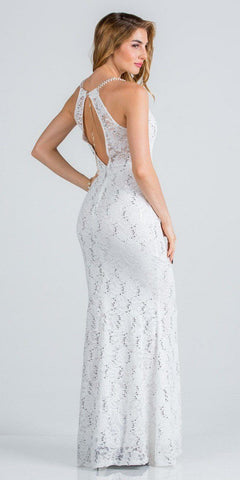 Off White Pearl Embellished Long Formal Dress with Keyhole