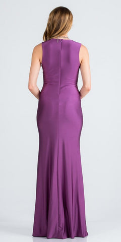 Violet Deep V-Neck Sleeveless Long Formal Dress