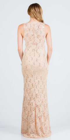 Embellished Neckline Gold Long Formal Dress