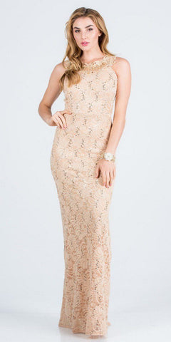 Beaded-Waist Fit and Flare Long Formal Dress Gold