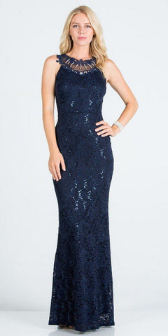 Black Mermaid Long Formal Dress with Embellished Neckline