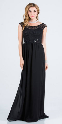 Black A-Line Long Formal Dress Embellished Waist