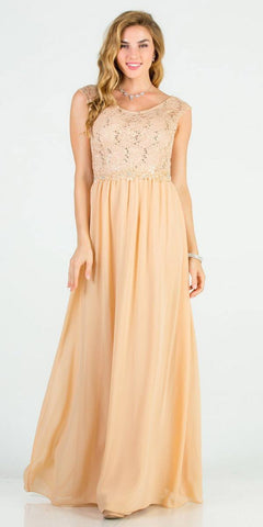 Gold A-Line Long Formal Dress Embellished Waist
