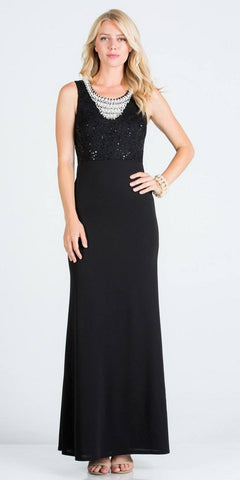 Black Embellished Neckline Long Formal Dress