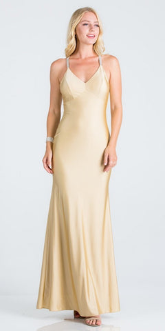 Eggplant Long Formal Dress Criss-Cross Back