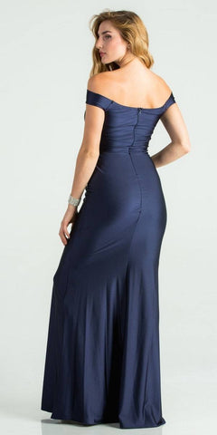 Navy Blue Trumpet Style V-Neck Long Formal Dress