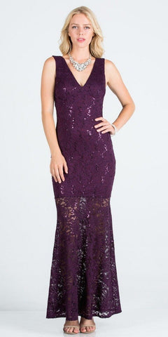 V-Neck Eggplant Long Formal Dress with Cut-Out Back