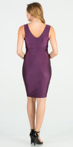 Fitted Short Cocktail Dress Ruched Front Eggplant
