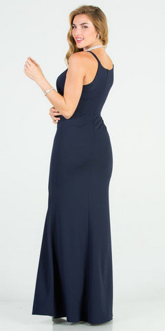 Embellished Waist Navy Blue Mermaid Long Formal Dress
